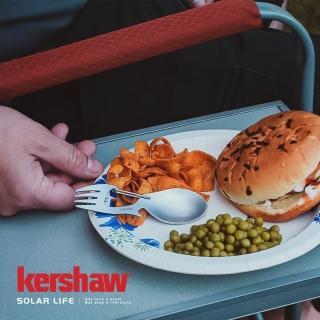 【Kershaw】RATION 不鏽鋼多功能湯匙-銀(多功能餐叉匙 露營湯匙餐叉 兩用雙頭叉勺 登山扣開瓶器 環保餐具)