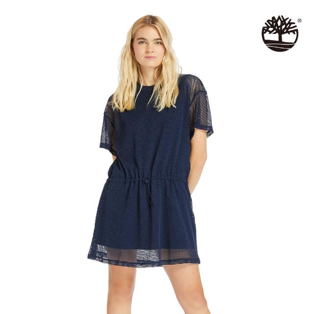 【Timberland】女款海軍藍背部LOGO網眼層連衣裙(A2CS8451)/
