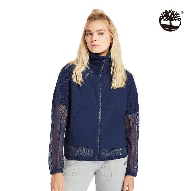 【Timberland】女款海軍藍點狀印花網眼拼接外套(A2CUZ451)/