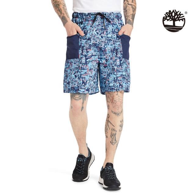 【Timberland】男款藍色點狀印花短褲(A2DUEBK9)/