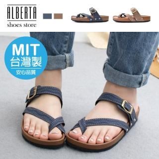【Alberta】MIT台灣製 3cm涼鞋 休閒百搭民俗風圖騰 厚底扣帶圓頭涼拖鞋