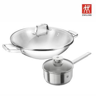 【ZWILLING 德國雙人】Turclad不鏽鋼鍋中式炒鍋36cm(贈Joy單柄鍋+蓋16cm)