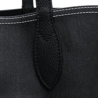 【BURBERRY 巴寶莉】經典格紋 大LOGO 內.外雙面可用 棉麻托特包