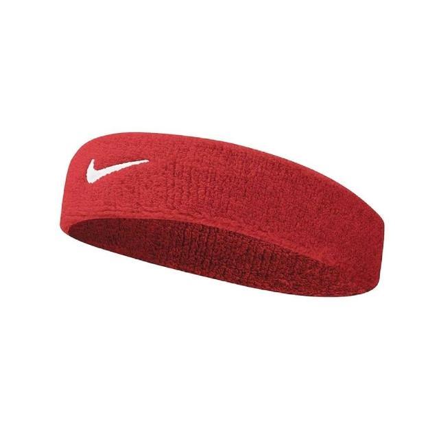 【NIKE 耐吉】頭帶 Swoosh Headband 男女款 髮帶 毛巾布 籃球 健身 重訓 吸汗 透氣 紅白(NNN0760-1OS)