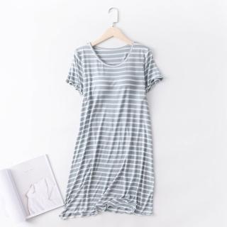 【NEW FORCE】任選-莫代爾條紋附胸墊居家裙-4色可選(居家服/睡衣/家居服/BRATOP)