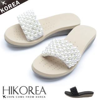【HIKOREA】韓國空運/版型正常。微漾珍珠滿版厚底激瘦涼拖鞋(71-3288二色/現貨+預購)