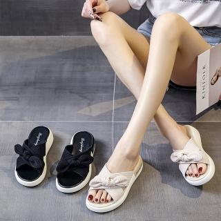 【LN】現+預 仙女風厚底蝴蝶結涼拖鞋(兩用/居家/外出/涼拖鞋)
