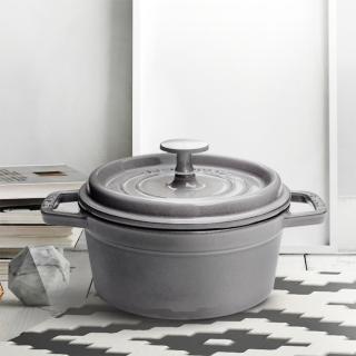 【法國Staub】石墨灰琺瑯鑄鐵鍋16cm+蝸牛鍋蓋頭+矽膠飯匙