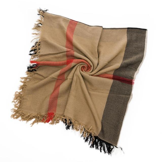 【BURBERRY 巴寶莉】經典格紋 羊毛軟料鬚邊披肩.披巾(多色任選)