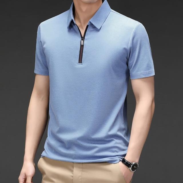 【Billgo】涼感素面拉鍊POLO衫 時尚冰絲網眼男短袖上衣休閒T恤4色 M-4XL(冰絲、輕薄)