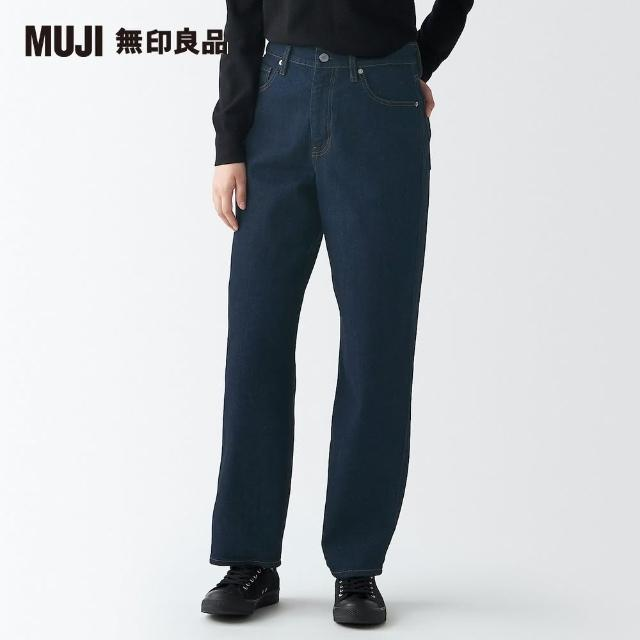 【MUJI 無印良品】女有機棉混彈性丹寧舒適寬擺褲(共2色)