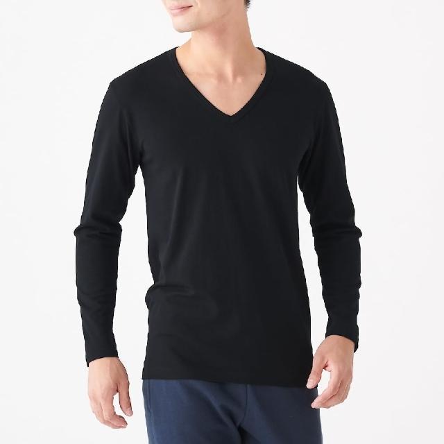 【MUJI 無印良品】男有機棉保暖V領長袖T恤(共3色)
