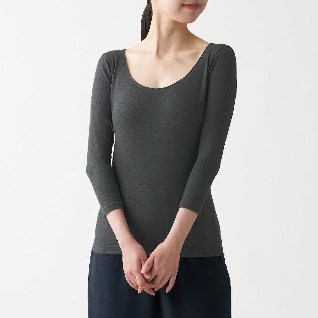 【MUJI 無印良品】女有機棉保暖U領八分袖T恤(共4色)